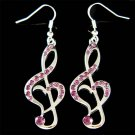 Swarovski Crystal Purple Heart Treble Clef Music Note Charm Earrings