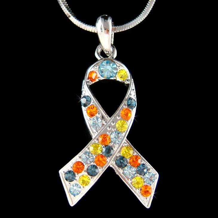 Autism Asperger Awareness Ribbon Swarovski Crystal Necklace