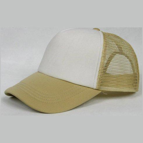 NEW CASUAL TRUCKER HAT CAP (KHAKI & WHITE)