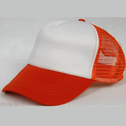 NEW CASUAL TRUCKER HAT CAP (ORANGE & WHITE)