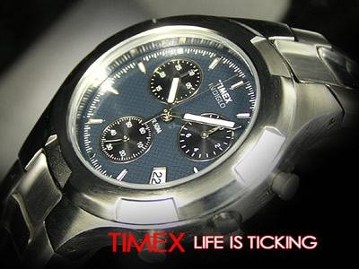 Timex Mens Steel Chronograph Indiglo Watch