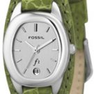 Fossil Green Leather Band Silver Dial Es9934