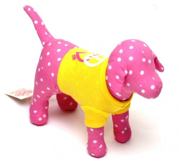 VICTORIA'S SECRET PINK MINI DOG WITH YELLOW T-SHIRT & POLKA DOTS NEW WITH TAG