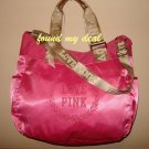 NEW VICTORIA SECRET HOT PINK LINE SATIN DUFFLE TOTE BAG