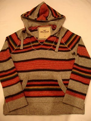HOLLISTER MEN PULLOVER STRIPES SWEATER HOODIE JACKET M