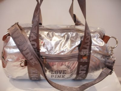 VICTORIA SECRET PINK METALLIC DUFFLE GYM SILVER BAG NEW