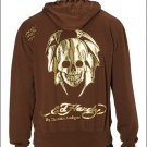 NEW AUTHENTIC ED HARDY MEN GOLD SKULL HOODIE JACKET XL