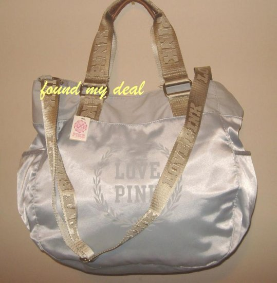 NEW VICTORIA SECRET PINK HOT SATIN DUFFLE TOTE BAG GRAY