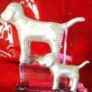 LOT 2 VICTORIA SECRET PINK DOG SILVER METALLIC ORNAMENT