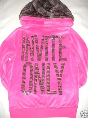 VICTORIA SECRET PINK BLING INVITE ONLY HOODIE W/FUR L