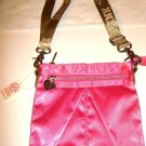 NEW VICTORIA SECRET HOT PINK SATIN CROSSBODY TOTE BAG
