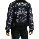 NEW ED HARDY MEN BLACK SKULL FLAGS TRACK JACKET SIZE L