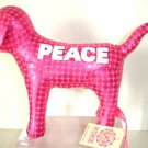 NEW VICTORIA SECRET HOT PINK METALLIC MINI DOG PEACE 09