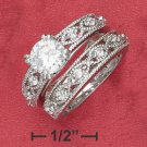 Sterling Silver 7mm round CZ wedding set ( sr2358 )