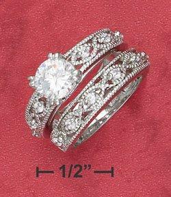 Sterling Silver 7mm round CZ wedding set ( sr2358 )