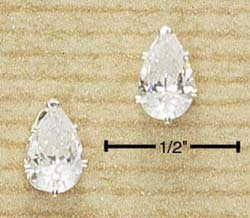 STERLING SILVER 8MM TEARDROP CZ POST EARRINGS (ea439)