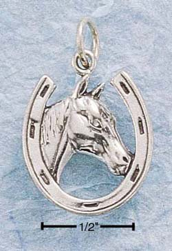 Sterling Silver JEWELRY horseshoe w/ horse ( CH-513 )