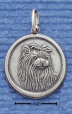Sterling Silver JEWELRY Yorkshire Terrier ID Charm ( CH-1200 )