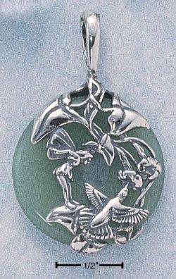 STERLING SILVER JEWELRY AVENTURINE DONUT W/ HUMMINGBIRD (cx150)