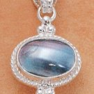 STERLING SILVER JEWELRY FANCY OVAL GRAY MABE PENDANT ( ch132 )