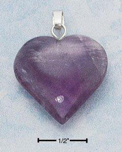STERLING SILVER JEWELRY LG AMETHYST HEART PENDANT (cx254)
