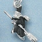STERLING SILVER JEWELRY 3D WITCH DRESSED IN BLACK (ch2276)