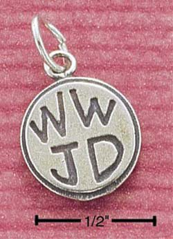 "STERLING SILVER JEWELRY ""WWJD"" ROUND CHARM (ch16 )"