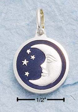 STERLING SILVER JEWELRY SMALL CRESCENT MOON & STARS (ch823)