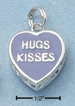 "STERLING SILVER JEWELRY 2 SIDED PURPLE ENAMEL ""HUGS KISSES"" HEART (ch2254)"