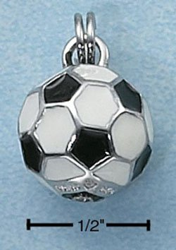 STERLING SILVER JEWELRY 3D BLACK & WHITE SOCCER BALL CHARM (ch2308)