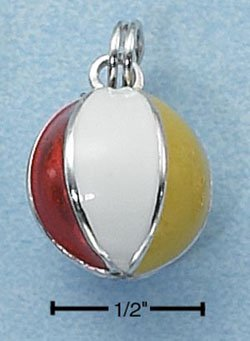 STERLING SILVER JEWELRY 3D RED WHITE YELLOW AND BLUE BEACHBALL CHARM (ch2295)
