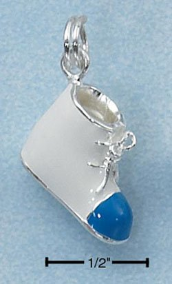 STERLING SILVER JEWELRY ENAMEL 3D BOYS WHITE BABY SHOE (ch2257)