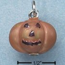 STERLING SILVER JEWELRY ENAMEL 3D ORANGE PUMPKIN (ch2275)