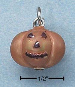 STERLING SILVER JEWELRY ENAMEL 3D ORANGE PUMPKIN (ch2275)