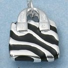 STERLING SILVER JEWELRY ENAMEL BLACK STRIPE PURSE (ch2240)