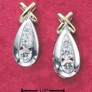 "CZ CHANNEL SETTING IN PEAR SHAPE ""X"" EARRINGS (ea2014)"