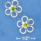 FLOWER POST EARRINGS WITH GREEN CZ CENTER (ep641)