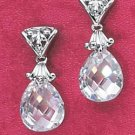 PEAR SHAPED CZ BRIOLETTE POST DANGLE EARRINGS (ea2008)