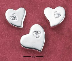 POST EARRINGS W/ HEART CZ & MATCHING PENDANT (ea2530)