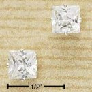 STERLING SILVER 6MM SQUARE CZ POST EARRINGS (ea437)