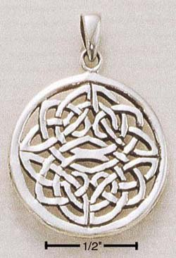 STERLING SILVER JEWELRY CELTIC ROUND PENDANT CHARM (ch88)