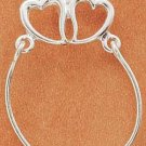 STERLING SILVER JEWELRY DOUBLE HEART CHARMHOLDER (cmh17)