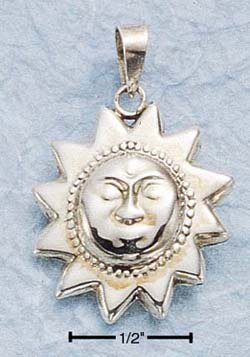 STERLING SILVER JEWELRY PUFFED SUN CHARM (ch493)