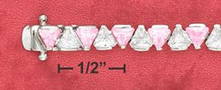 STERLING SILVER JEWELRY PINK & WHITE 4MM TRILLION CZ BRACELET (br2636)