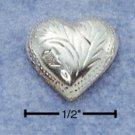 STERLING SILVER ETCHED HEART POST EARRINGS  (ea2170)