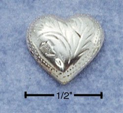 STERLING SILVER ETCHED HEART POST EARRINGS  (ea2170)