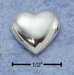 STERLING SILVER POLISHED HEART POST EARRINGS  (ea2169)