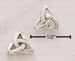 STERLING SILVER CELTIC FANCY TRIANGLE POST EARRINGS   (ea1318)