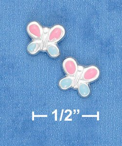 STERLING SILVER ITALIAN PINK & BLUE ENAMEL BUTTERFLY POST EARRINGS  (ep637)