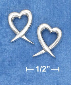 STERLING SILVER 11MM OPEN HEART WITH TAIL POST EARRINGS  (ep634)